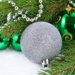 Stock Photo: Christmas balls and garland