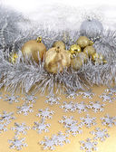 Golden and silver Christmas decorations — Stock Photo