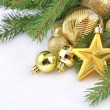 Gold star and Christmas decorations — Foto de Stock