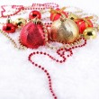 Golden and red Christmas decorations — Stock Photo