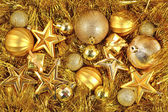 Golden Christmas decorations — Zdjęcie stockowe
