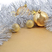 Golden and silver Christmas decorations — Stockfoto
