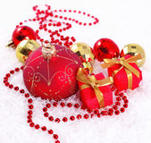 Red and golden Christmas decorations — Stok fotoğraf