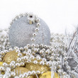 Golden and silver Christmas decorations — Foto de Stock