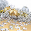 Stock Photo: Golden and silver Christmas decorations
