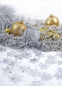 Golden and silver Christmas decorations — Stok fotoğraf