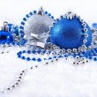 Silver and blue Christmas decorations — Stock Photo