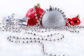Silver and red Christmas decorations — Foto Stock