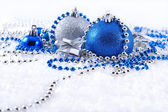 Silver and blue Christmas decorations — Stockfoto