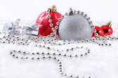 Silver and red Christmas decorations — Stok fotoğraf
