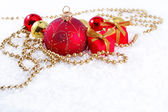 Golden and red Christmas decorations — Stockfoto