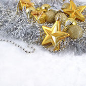 Golden and silver Christmas decorations — ストック写真