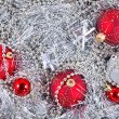 Silver and red Christmas decorations — Stockfoto