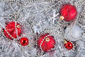 Silver and red Christmas decorations — Zdjęcie stockowe