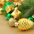Gold bump and Christmas decorations — Foto de Stock