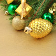Gold bump and Christmas decorations — Stock fotografie