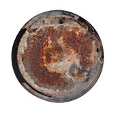 Old rusty round metal plate — Stock Photo
