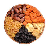 Various dried fruits in bowl — Stock Photo