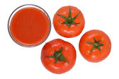 Tomato juice and tomatoes on a white — Photo