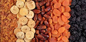 Various dried fruits background — Stock fotografie
