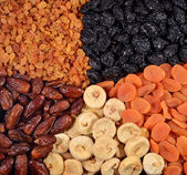 Various dried fruits background — Stock Photo