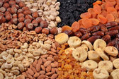 Assorted nuts and dried fruits — Stock Photo