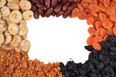 Frame of various dried fruits — Stock Photo