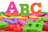 Plastic colored alphabet letters ABC — Stock Photo