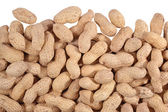 Heap of whole peanuts on a white — Foto Stock