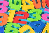Colorful plastic numbers 123 — Stock Photo