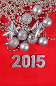 2015 year silver figures on a red — Foto Stock