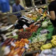 Stock Photo: Fruit and vegetables on stall