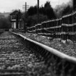 Stock Photo: Set of derelict train tracks