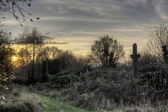 Sunset over Bradford cemetary — Stock Photo