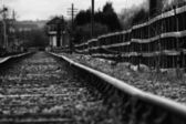 Set of derelict train tracks — Stock Photo