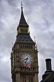 The spire of the Big Ben clocktower on the Houses of Parliament, London , E — Stock Photo