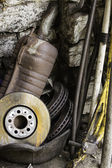 Vehicle spares in garage — Stock Photo