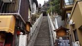 SHIBU ONSEN, JAPAN - MARCH 27: Historic ryokan and onsen hot spring resorts March 27, 2013 in Japan. The historic hot springs town dates back over 400 years. — Stock Photo