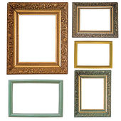 Five picture frames isolated on white — Photo