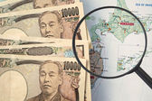 Japan tourist map, with Japanese Yen (Travel concept) — Stock Photo