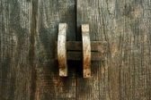 Obsolete wooden door bolt, Thai tradition — Foto Stock