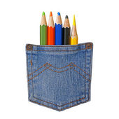 Blue jeans pocket full of pencils isolated. (back to school concept) — Stockfoto