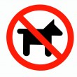 No dogs or pets allowed, warning sign, isolated round signage — Stock Photo #44037721