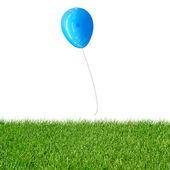 Balão azul flutuante — Fotografia Stock