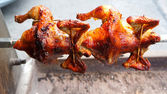 Turn roasted chickens — Stock Photo
