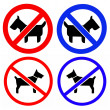No dogs or pets allowed, warning sign, isolated round signage — Stock Photo #44483021