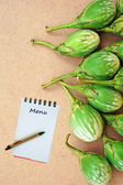 Notebook for recipes with green tomatoes — Stock Photo