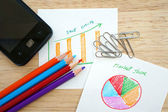 Business concept with pencil, paperclip, mobile phone and financial table and graph — Stock Photo
