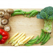 Mixed vegetables on wooden block isolate (frame design) — Stock Photo #47205037
