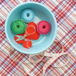 Sewing kit, needles, thread and measuring tape — Stock Photo #49553065